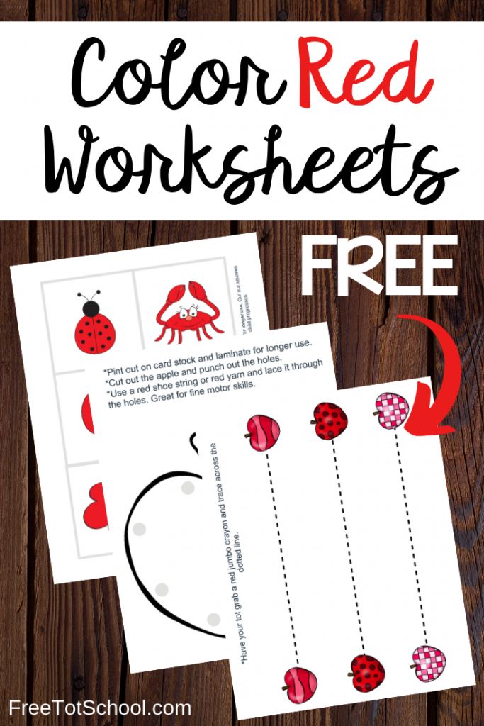 Color Red Worksheets! Free printable color red worksheets for preschoolers. 7 Fun pages!