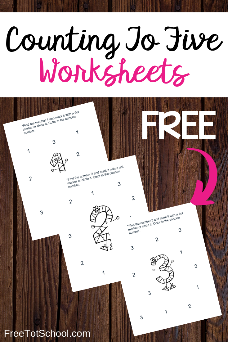 Help your children learn how to count to five with these free preschool worksheets. Fun coloring character in the center and number find sheets.